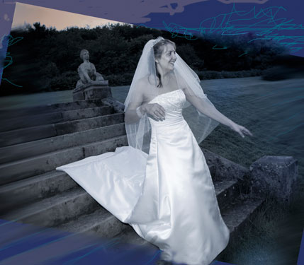 bride coming down the steps in midnight blue night colours