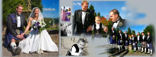 montage of wedding at Auchen castle