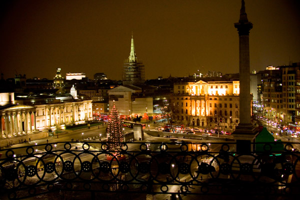 Rooftop view across Trafalgar Square at Christmas Night with Christmas tree