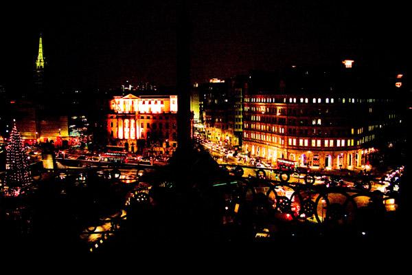 Christmas lights over Trafalgar Square London