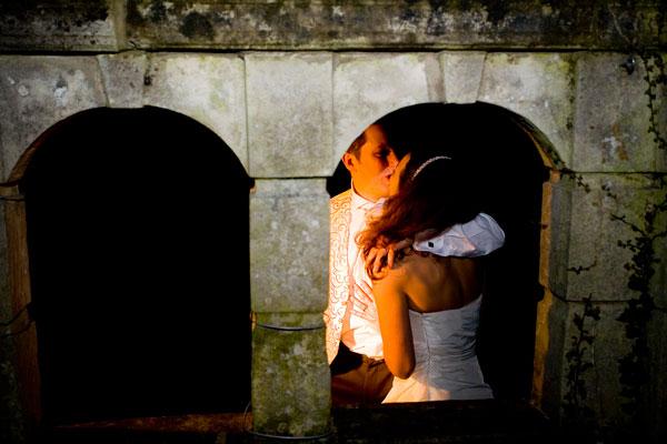 goodnight kiss in the dark outside in garden of Monk Fryston