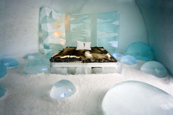 Bedroom in the Ice Hotel Sweden