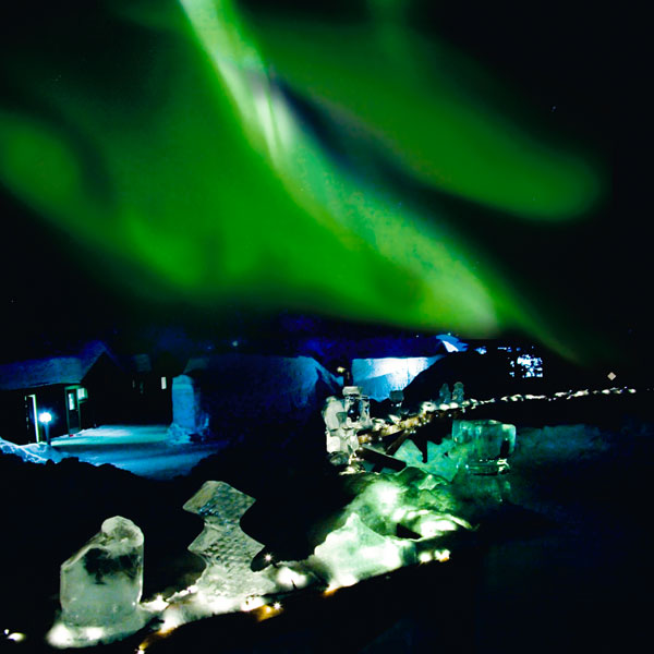 Aurora Borealis over the Ice Hotel in Sweden