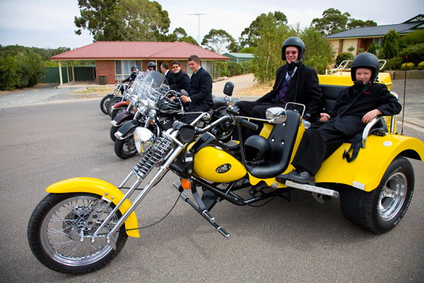 Groomsmen head off to the wedding at Jacobs Creek on a Barossa Trike and Harleys