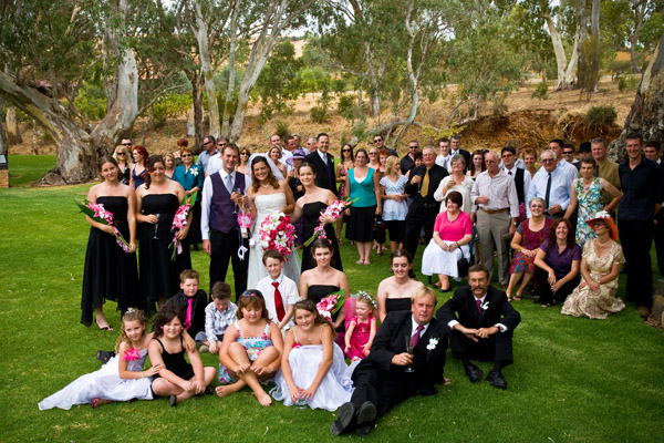outdoor big group whole wedding photo at Jacob's Creek Retreat in Barossa Valley Australia