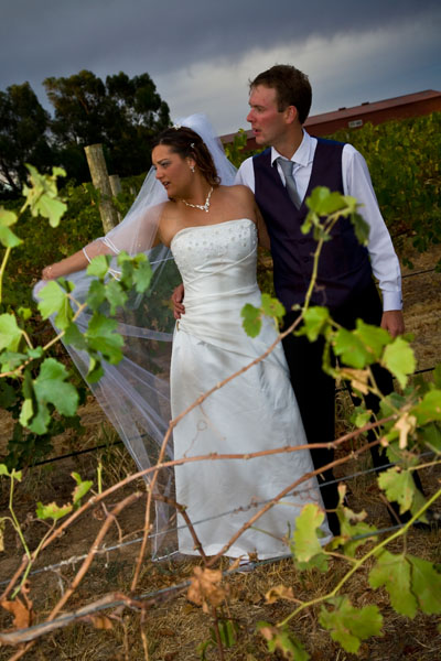 bride and groom in vineyard at Kaesler Wines Barossa Valley