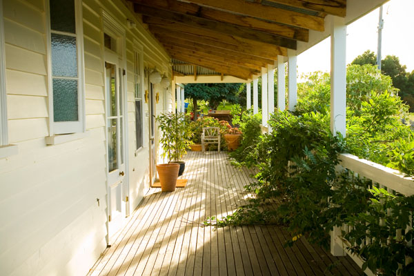 morning view of veranda at Aire Valley Guest House off the Great Ocean Road, Victoria