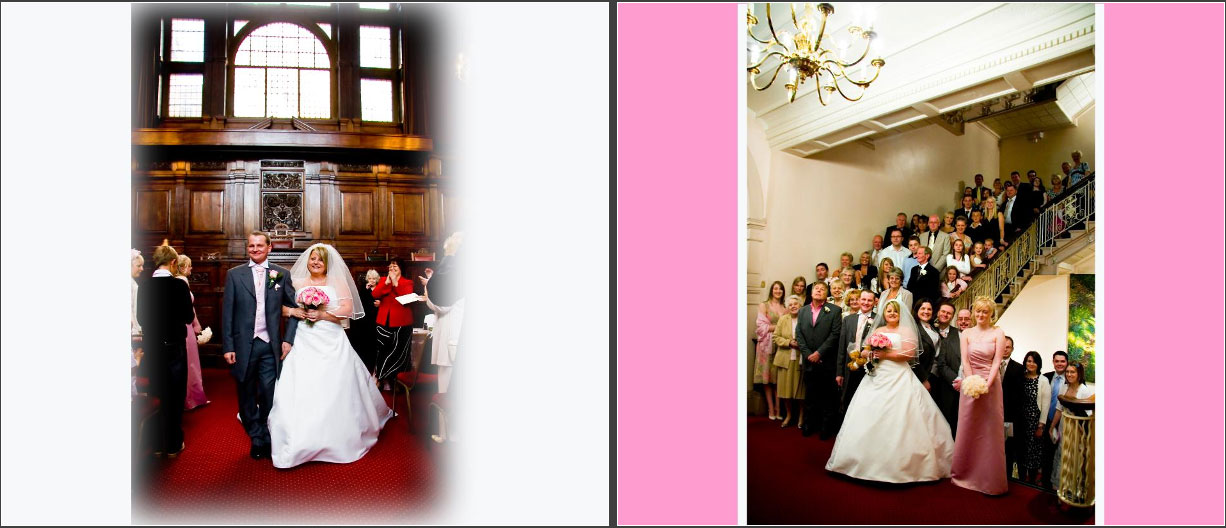 Bride and Groom walking down aisle & family group inside  Wakefield Town Hall