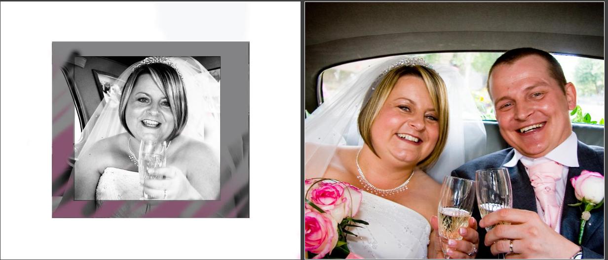 bride & Groom  in wedding car