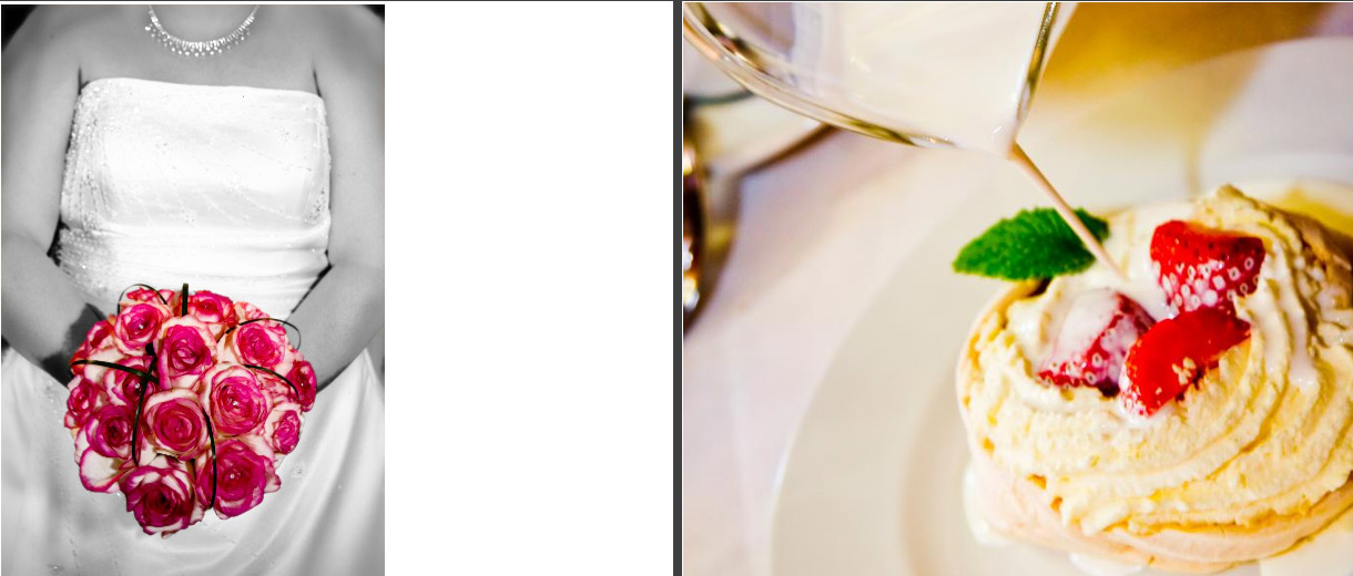 bride's bouquet and wedding breakfast delicious desert