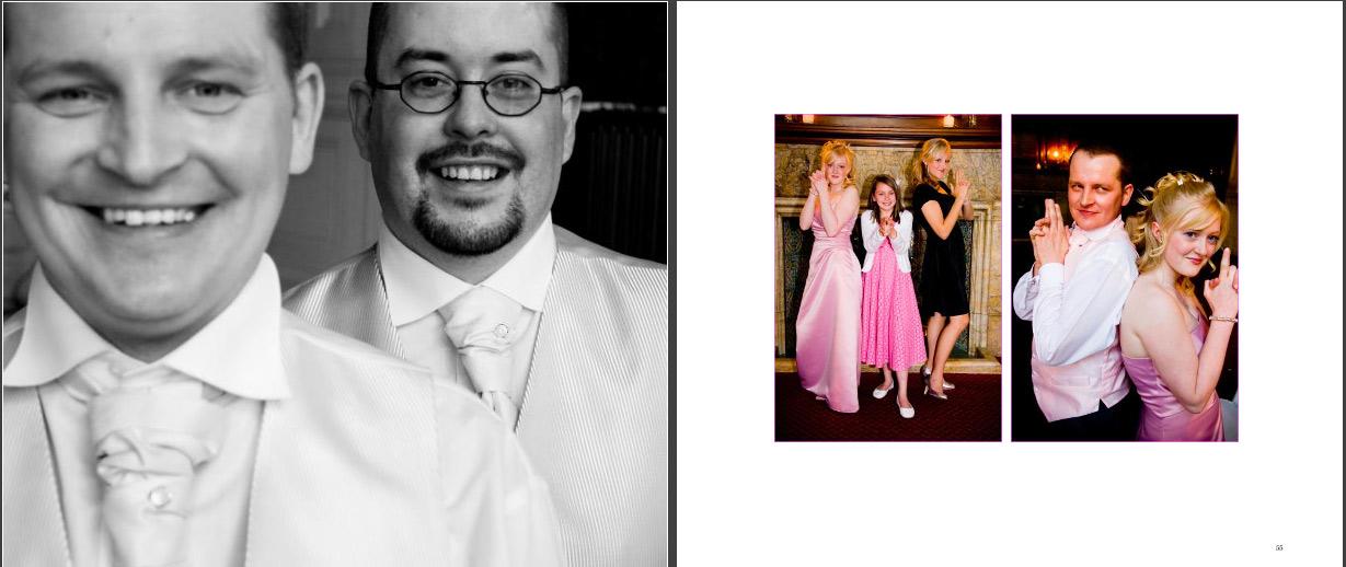 Groomsmen in wedding storybook and Bridesmaids posed as Charlie's Angels