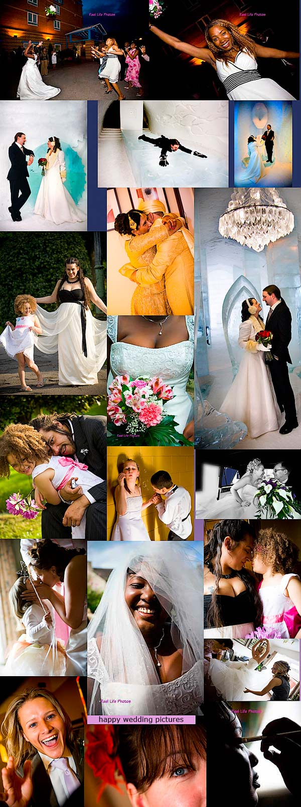 collage of wedding pictures by Reel Life Photos wedding photographers UK