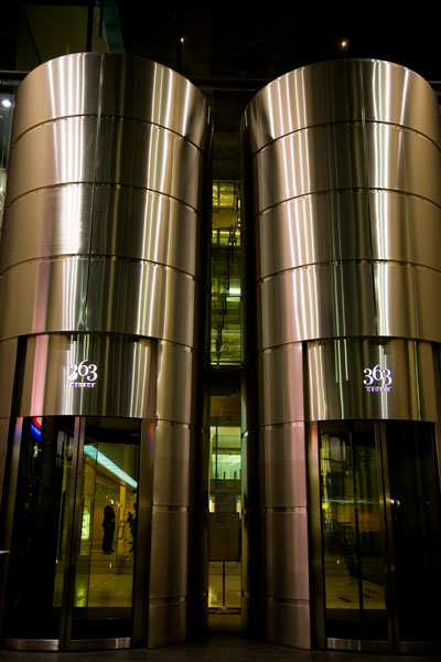 Boss chrome towers in Sydney at night