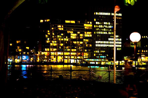 night-lit windows facing onto Sydney harbour
