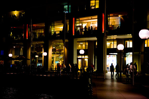 buildings around Sydney harbour at night