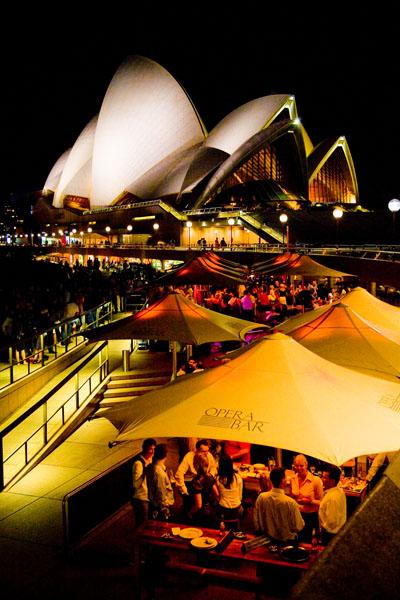 Sydney Opera House and market at night