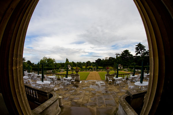 view from Luton Hoo Hotel onto the main gardens on a rainy day