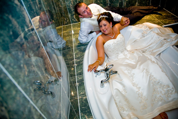 Bride and Bridgroom in the bath at Gomersal Park Hotel