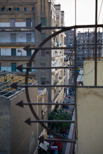 View from the balcony of New Palace Hotel in Cairo Egypt