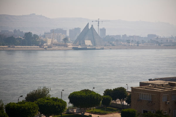 view across River Nile from King Akhenaton Hotel El Minya Egypt