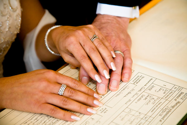 wedding rings on love-clasped hands