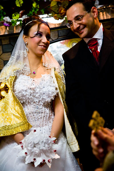 Christian Orthodox bride and groom at Egyptian wedding