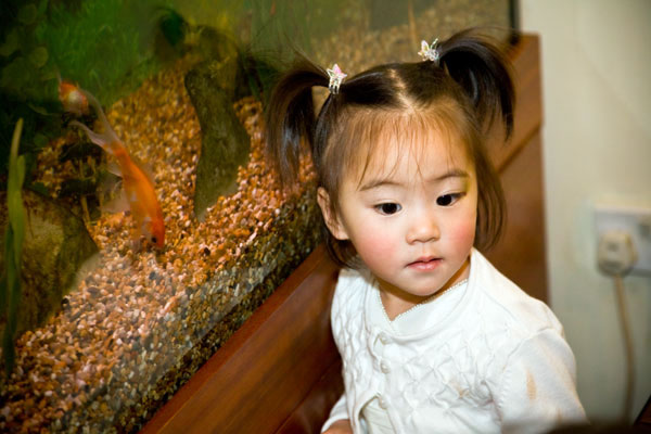 beautiful little girl at Maxis Chinese Restaurant in Leeds