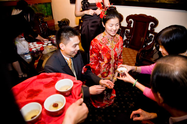 Chinese Tea ceremony during wedding reception at Maxis in Leeds
