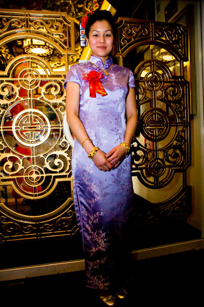 Chinese bride in lilac wedding dress