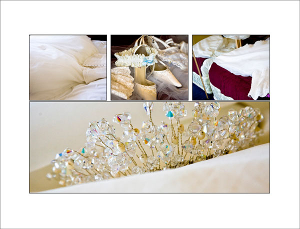 details of bride's wedding accessories