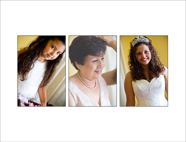 bride's grandma watches her getting ready for her wedding
