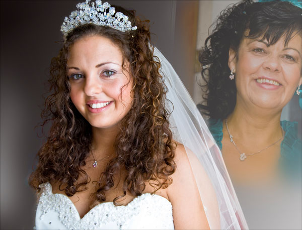 bride watched by her Mum