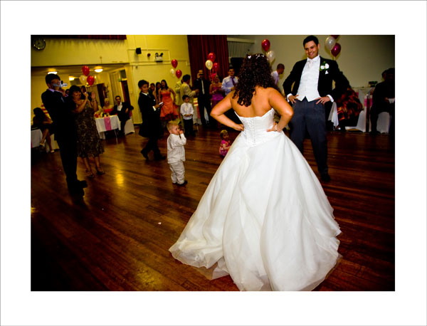 surprise fast dance routine at evening wedding reception