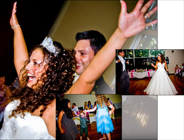 joyous dancing at evening wedding reception
