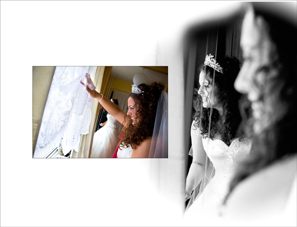storybook wedding page as bride by the window spots the wedding car arriving