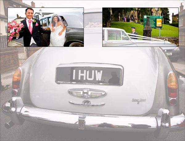 classic wedding car arrives at Christ Church in Ossett