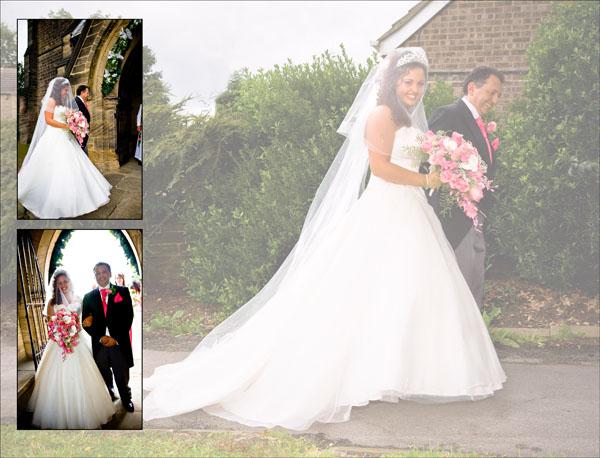 bride walks into Christ Church in Ossett