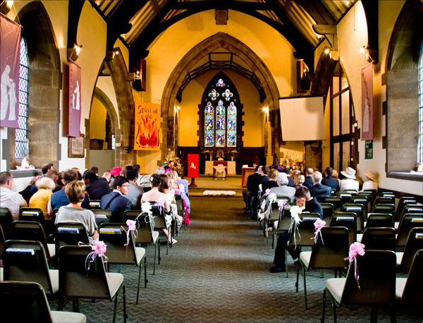 wedding guests pack Christ Church in Ossett West Yorkshire