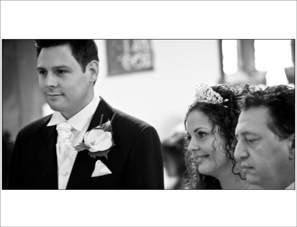 black & white wedding church ceremony photo