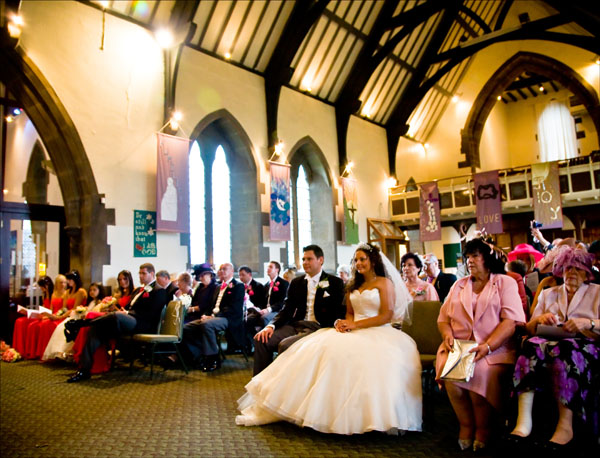 picture of wedding guests inside Christ Church in Ossett