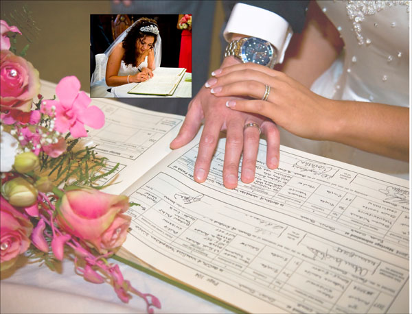 signing the register at Christ Church wedding