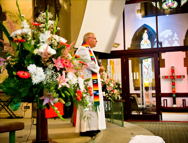 vicar at Christ Church in Ossett during marriage ceremony