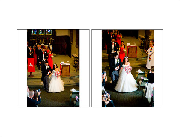 newly wed bride and groom walk out down the aisle