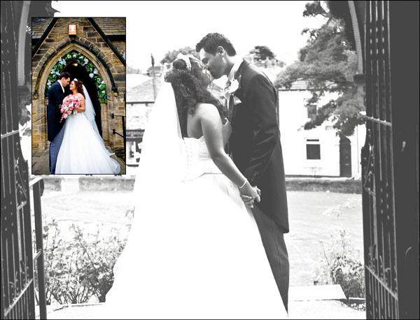 bride and groom kiss in the church doorway