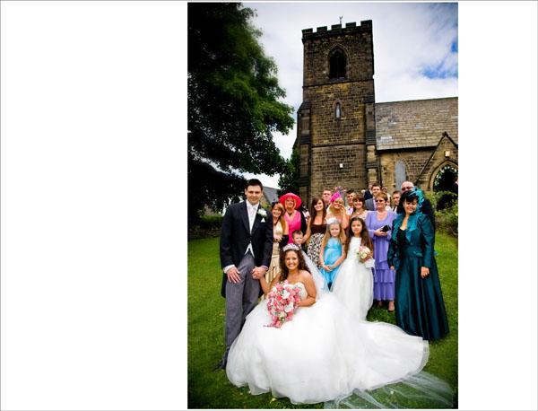 bride and groom outside Christ Church in Ossett West Yorkshire