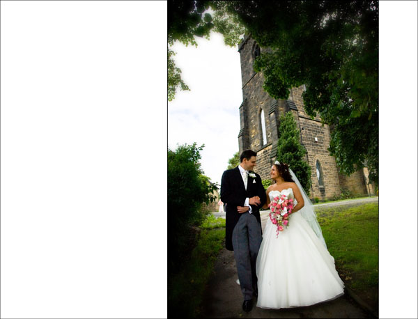 romantic pic of bride and groom with Christ Church behind them