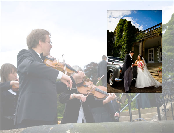 string quartet plays as bride and groom arrive at Woolley Hall