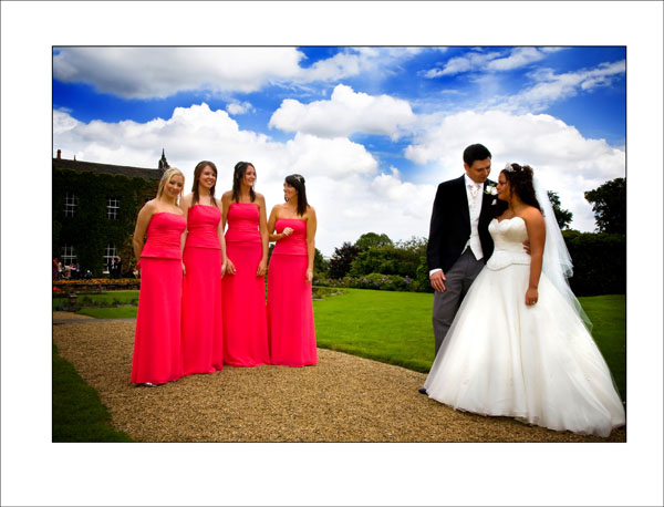 dramatic colours of red and blue at Woolley hall wedding