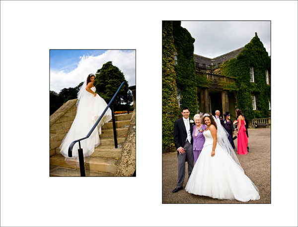 Summer wedding picture outside Woolley Hall