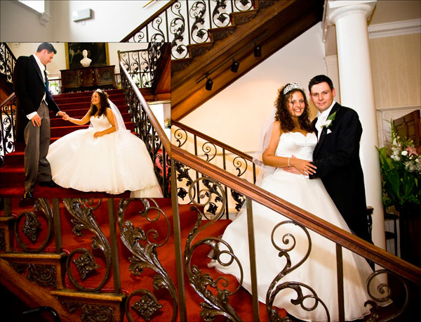 pictures of bride and groom on the stairs at Woolley Hall